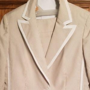 Evan Picone tan stripe suit